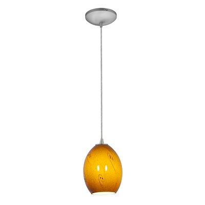 Brandy FireBird 1-Light Mini Pendant Finish: Brushed Steel, Shade Color: Amber Sky