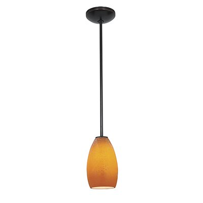 Carballo 1-Light Oval Shade Mini Pendant Finish: Oil Rubbed Bronze, Shade Color: Maya
