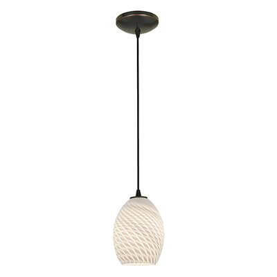 Norby 1-Light Oval Shade Mini Pendant Finish: Oil Rubbed Bronze, Shade Color: White Firebird