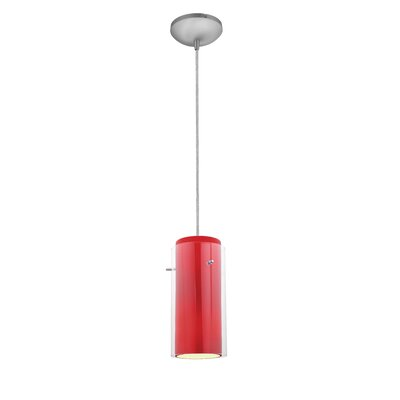 Glass`n Glass Cylinder 1-Light Mini Pendant Finish: Brushed Steel, Shade Color: Clear and Red