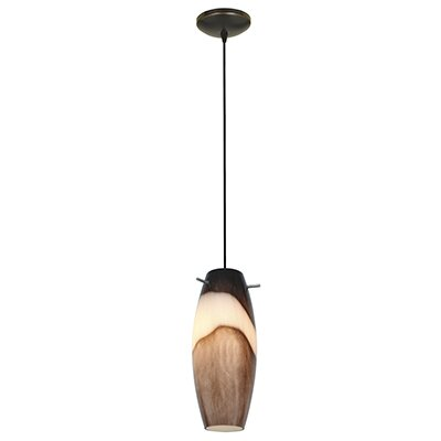 Tessa 1-Light Mini Pendant Color: Oil Rubbed Bronze, Shade Color: Brown Slate