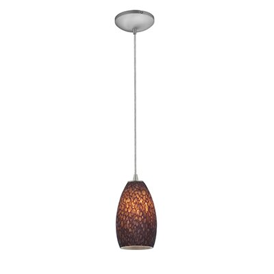 Carballo 1-Light Glass Shade Hardwired Mini Pendant Finish: Brushed Steel, Shade Color: Brown Stone