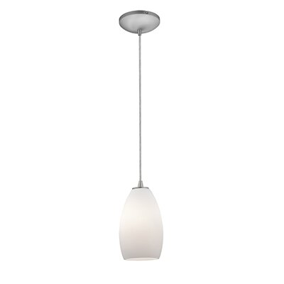 Carballo 1-Light Elliptical Glass Shade Mini Pendant Finish: Brushed Steel, Shade Color: Opal