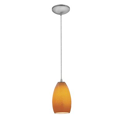 Carballo 1-Light Elliptical Glass Shade Mini Pendant Finish: Brushed Steel, Shade Color: Maya