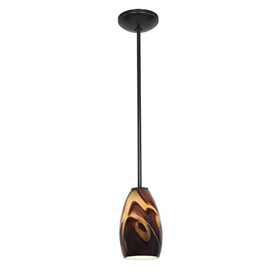 Carballo 1-Light Hardwired Mini Pendant Finish: Oil Rubbed Bronze, Shade Color: Inca