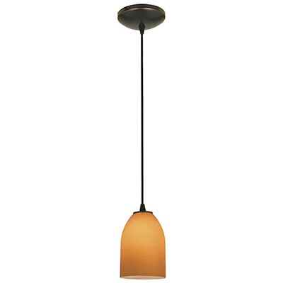 Caraway 1-Light Hardwired Mini Pendant Finish: Oil Rubbed Bronze, Shade Color: Amber
