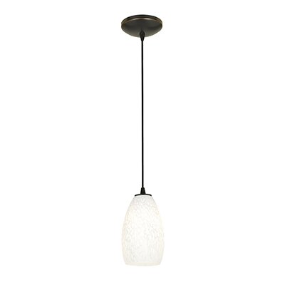 Carballo 1-Light Glass Shade Hardwired Mini Pendant Finish: Oil Rubbed Bronze, Shade Color: White Stone