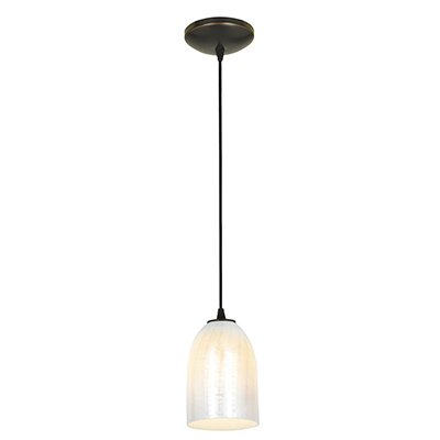 Caraway 1-Light Urn Shade Hardwired Mini Pendant Finish: Oil Rubbed Bronze, Shade Color: Wicker White