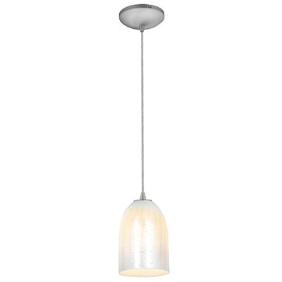 Caraway 1-Light Urn Shade Hardwired Mini Pendant Finish: Brushed Steel, Shade Color: Wicker White