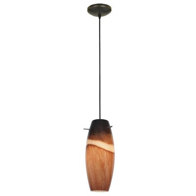 Tessa 1-Light Mini Pendant Color: Oil Rubbed Bronze, Shade Color: Amber Slate