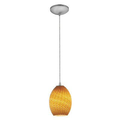 Brandy FireBird 1-Light Mini Pendant Finish: Brushed Steel, Shade Color: Amber Firebird
