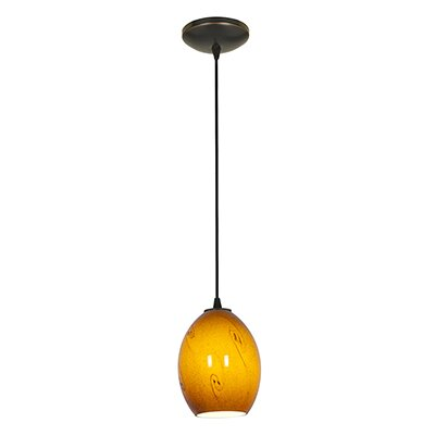 Norby 1-Light Elliptical Glass Shade Mini Pendant Finish: Oil Rubbed Bronze, Shade Color: Amber Sky