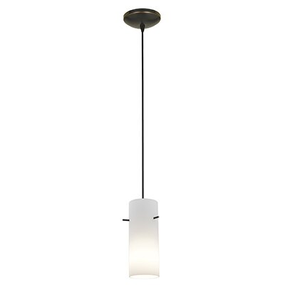 Cavanagh Cylinder 1-Light Mini Pendant Finish: Oil Rubbed Bronze, Shade Color: Opal