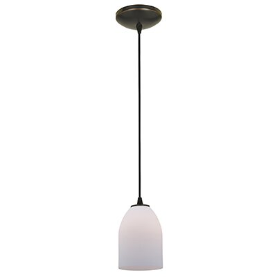 Caraway 1-Light Hardwired Mini Pendant Finish: Oil Rubbed Bronze, Shade Color: Opal