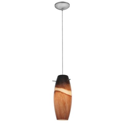 Tessa 1-Light Hardwired Mini Pendant Color: Brushed Steel, Shade Color: Amber Slate