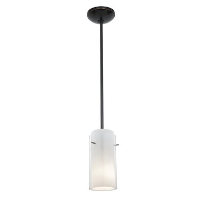 Glass`n Glass Cylinder 1-Light Mini Pendant Shade Color: Clear and Opal, Finish: Oil Rubbed Bronze