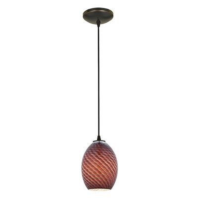 Norby 1-Light Oval Shade Mini Pendant Finish: Oil Rubbed Bronze, Shade Color: Plum Firebird