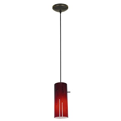 Cylinder 1-Light Mini Pendant Shade Color: Red, Finish: Oil Rubbed Bronze