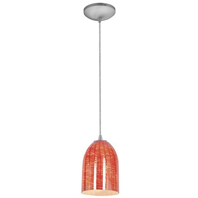 Caraway 1-Light Urn Shade Hardwired Mini Pendant Finish: Brushed Steel, Shade Color: Wicker Red