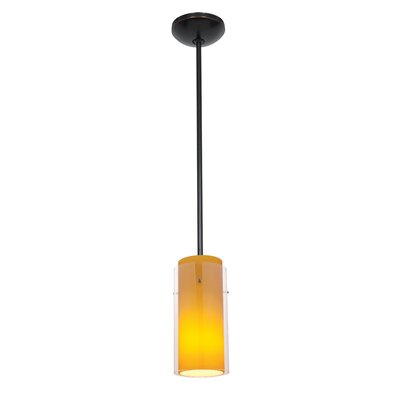 Glass`n Glass Cylinder 1-Light Mini Pendant Shade Color: Clear and Amber, Finish: Oil Rubbed Bronze
