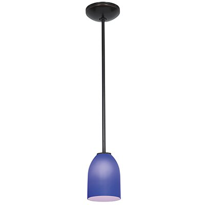 Caraway 1-Light Elliptical Glass Shade Mini Pendant Finish: Oil Rubbed Bronze, Shade Color: Cobalt