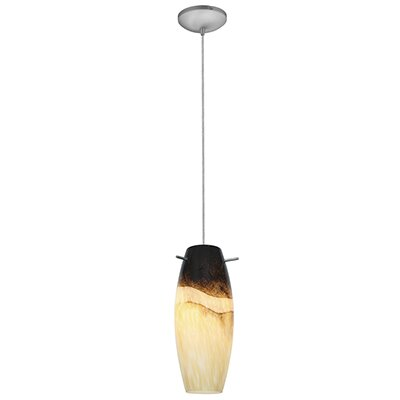 Cabernet 1-Light Mini Pendant Finish: Brushed Steel, Shade Color: Sand Slate