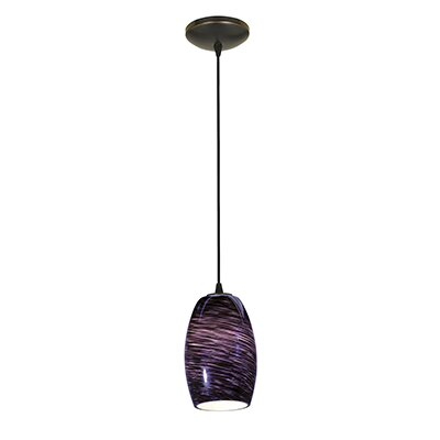 Crisman 1-Light Glass Shade Mini Pendant Finish: Oil Rubbed Bronze, Shade Color: Purple Swirl