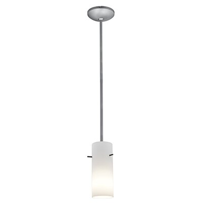 Cauley Cylinder 1-Light Mini Pendant Finish: Brushed Steel, Shade Color: Opal