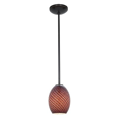 Norby 1-Light Mini Pendant Finish: Oil Rubbed Bronze, Shade Color: Plum Firebird