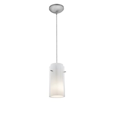 Glass`n Glass Cylinder 1-Light Mini Pendant Finish: Brushed Steel, Shade Color: Clear and Opal