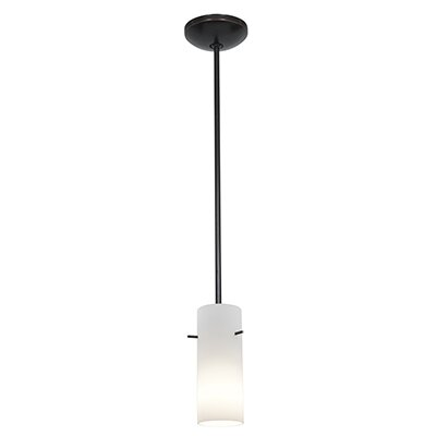 Cauley Cylinder 1-Light Mini Pendant Finish: Oil Rubbed Bronze, Shade Color: Opal
