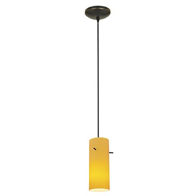 Cavallo Cylinder 1-Light Mini Pendant Finish: Oil Rubbed Bronze, Shade Color: Amber