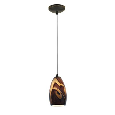 Carballo 1-Light Oval Shade Hardwired Mini Pendant Finish: Oil Rubbed Bronze, Shade Color: Inca