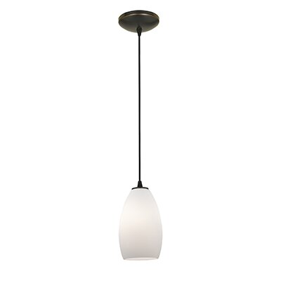Carballo 1-Light Elliptical Glass Shade Mini Pendant Finish: Oil Rubbed Bronze, Shade Color: Opal