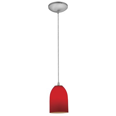 Bordeaux 1-Light Mini Pendant Finish: Brushed Steel, Shade Color: Red