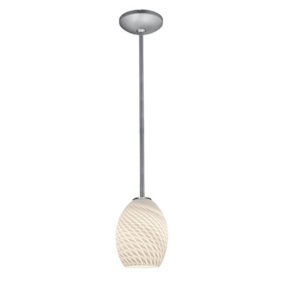 Norby 1-Light Hardwired Mini Pendant Finish: Brushed Steel, Shade Color: White Firebird