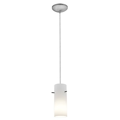 Cavanagh Cylinder 1-Light Mini Pendant Finish: Brushed Steel, Shade Color: Opal