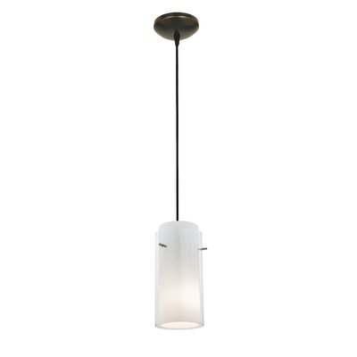 Olden Modern 1-Light Mini Pendant Finish: Oil Rubbed Bronze, Shade Color: Clear and Opal