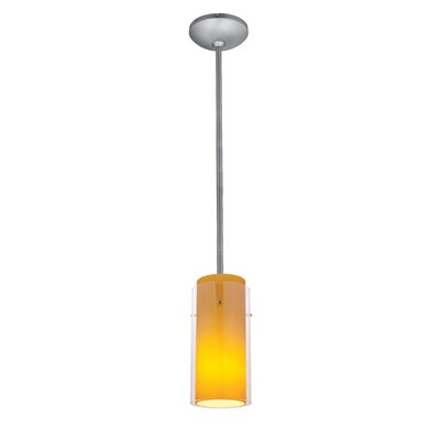 Olden 1-Light Mini Pendant Finish: Brushed Steel, Shade Color: Clear and Amber