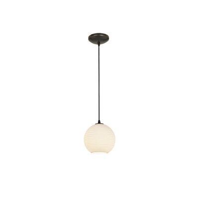 Japanese Lantern 1-Light Mini Pendant Size: 8 H x 8 W x 8 D, Finish: Oil Rubbed Bronze
