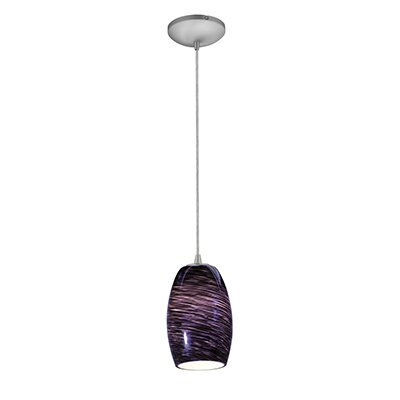 Crisman 1-Light Glass Shade Mini Pendant Finish: Brushed Steel, Shade Color: Purple Cloud