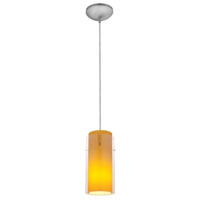 Decesare Cylinder 1-Light Mini Pendant Finish: Brushed Steel, Shade Color: Clear and Amber