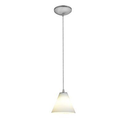 Cascio 1-Light Mini Pendant Finish: Brushed Steel, Shade Color: White