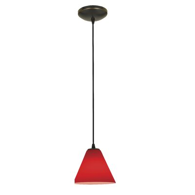Cascio 1-Light Mini Pendant Finish: Oil Rubbed Bronze, Shade Color: Red