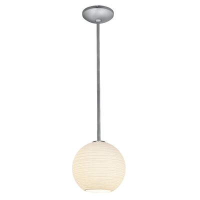 Oliveras Lantern 1-Light Mini Pendant Finish: Brushed Steel, Size: 8 H x 8 W x 8 D