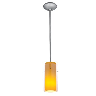 Glass`n Glass Cylinder 1-Light Mini Pendant Finish: Brushed Steel, Shade Color: Clear and Amber