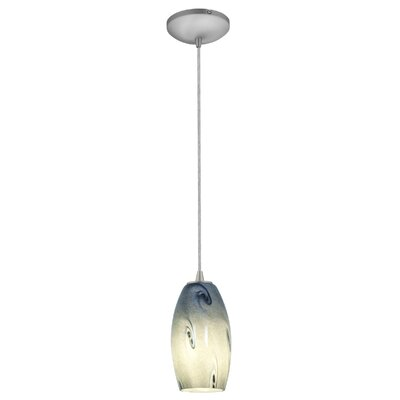 Merlot 1-Light Pendant Finish: Brushed Steel, Shade Color: Blue Sky, Stem Type: Rod