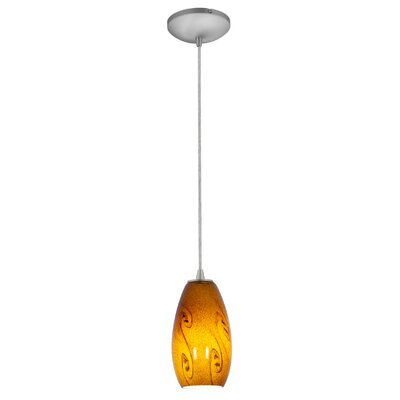 Merlot 1-Light Pendant Finish: Brushed Steel, Shade Color: Amber Sky, Stem Type: Rod