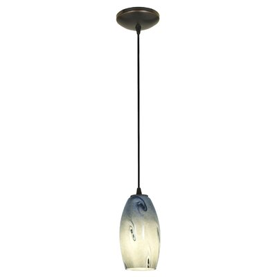 Merlot 1-Light Pendant Shade Color: Blue Sky, Finish: Oil Rubbed Bronze, Stem Type: Rod