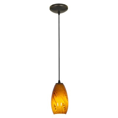 Merlot 1-Light Pendant Shade Color: Amber Sky, Finish: Oil Rubbed Bronze, Stem Type: Rod